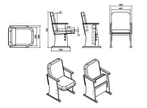 Кресла театральные для зрительных, актовых залов и театров, .